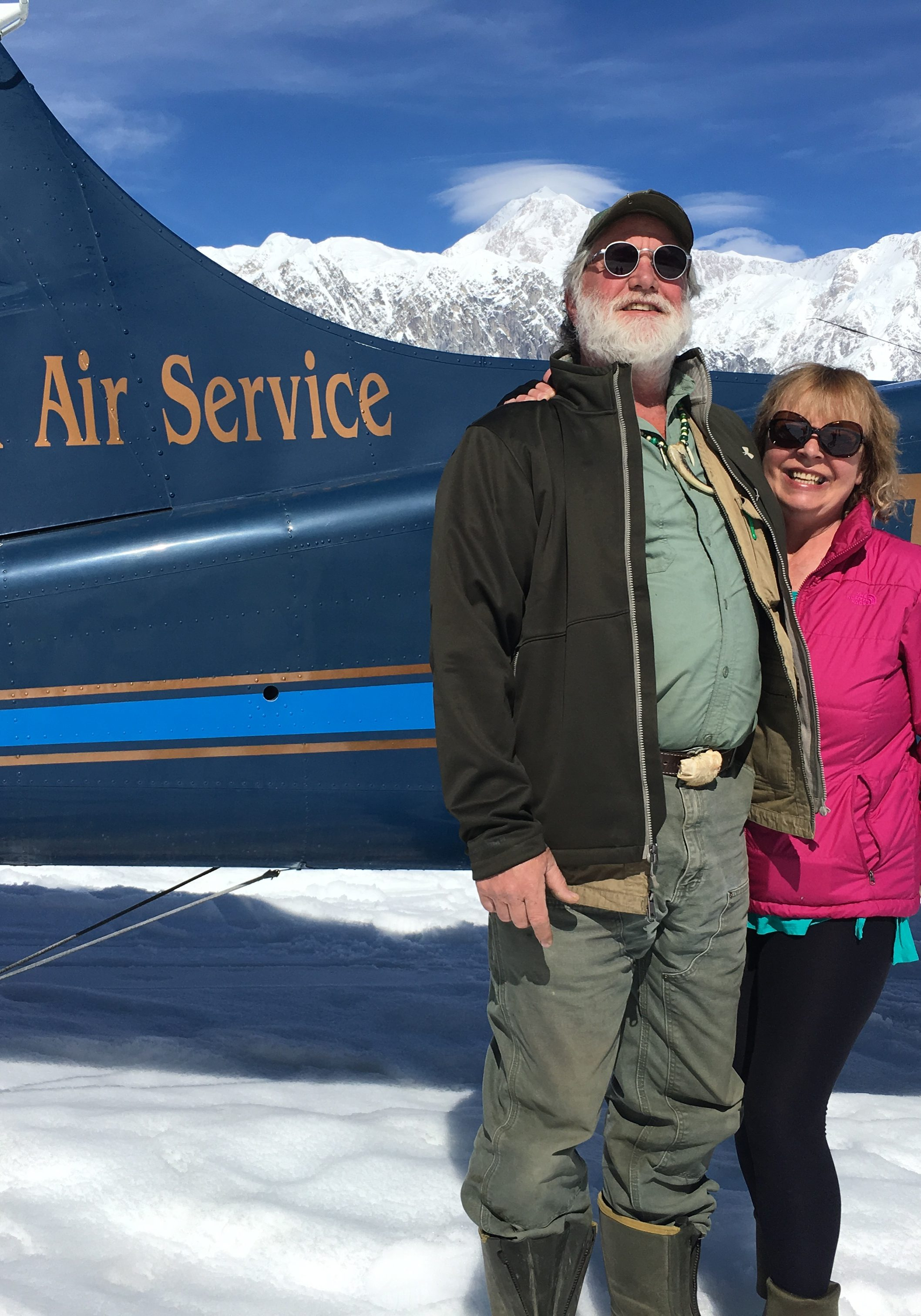 Yukon and Beverly on an adventure, on the Ruth Glacier 50 miles north of Talkeetna.